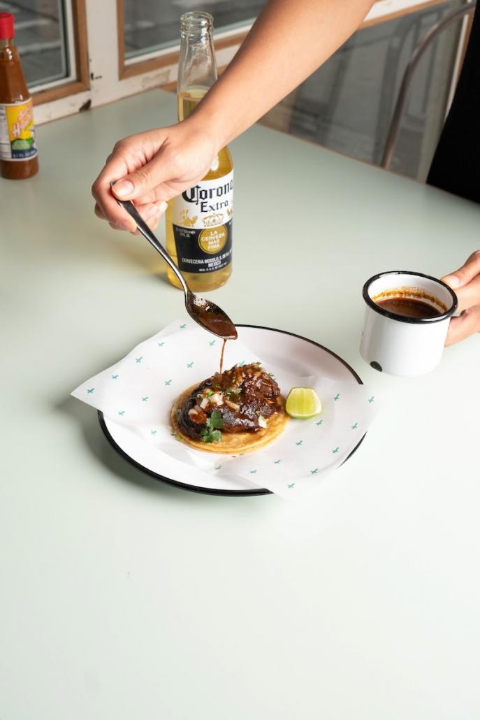 Cinco de Mayo Taqueria Super Macho beef birria taco
